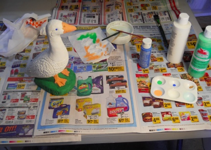 Dry Brushing Lawn Goose 2012-03-08